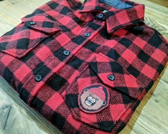 254a2ed656cbc LL Bean Vintage Flannel Shirt X PDW Team Z Danger Bear Patch   Size Large  (tall)   PatchEcology