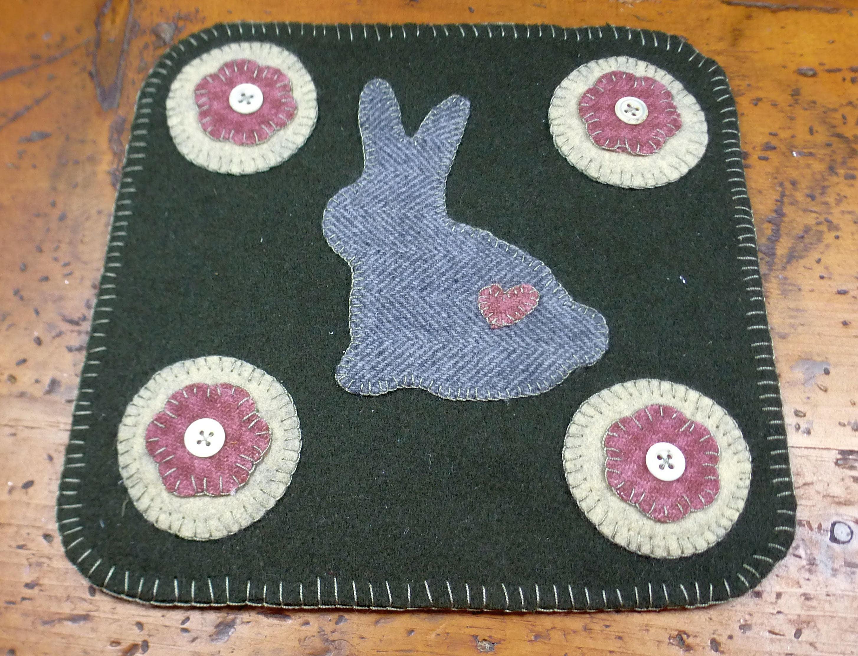 Słodki Króliczek Penny Folk Art Penny Dywan Po Prostu Grosze Przez Linda Pattern