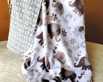 Minky grey elephant baby blanket