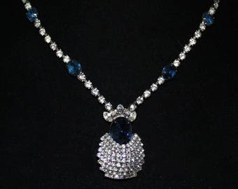 Vintage Kramer Deep Blue and Clear Rhinestone and Cabochon Pendant Necklace