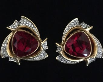 Swarovski Gold Plated  Red Crystal Earrings