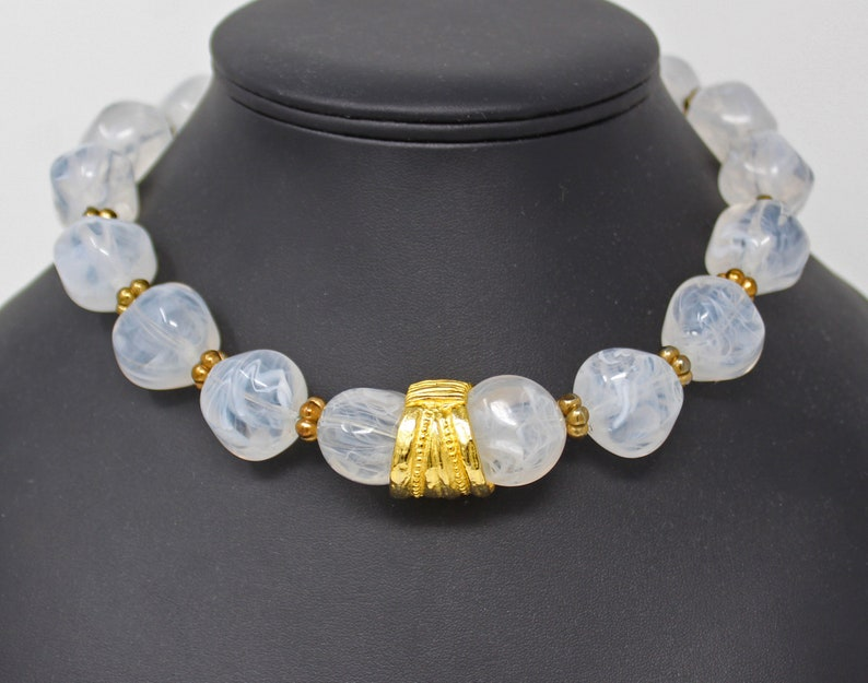 Signed PAULINE RADER Milky Lucite Stone Necklace with GT Spacers and Enhancer