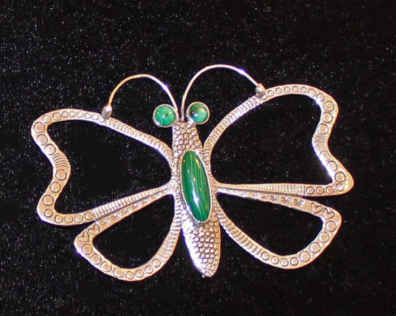 Native American Huge Sterling Silver and Malachite