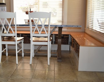 Custom Banquet Seating with Built-In Storage for Baskets