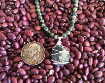 Natural Chalcedony Wire Wrapped with Sterling Silver, Genuine Jade Beads