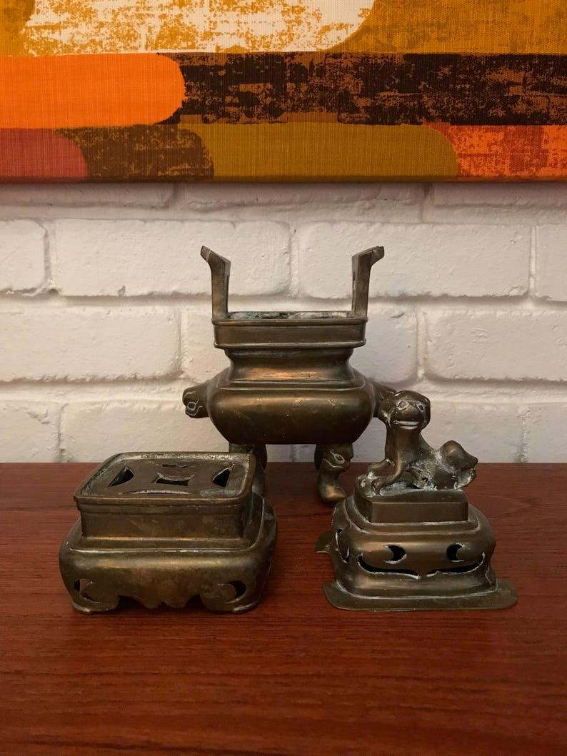 Mid Century Vintage Chinese Brass Foo Dog Incense Burner Pot