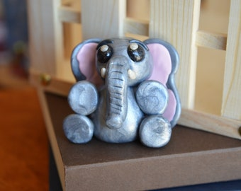 Hand Crafted Silver and Pink Elephant - Polymer Clay Sculpture