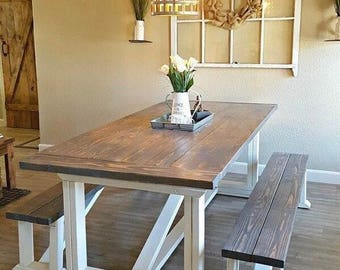 Farmhouse Table With Bench Etsy - Farm table with bench seating