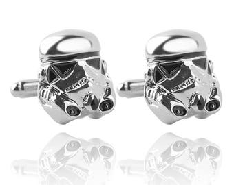 STORM TROOPER Cufflinks - Star Wars Troopers - Silver Plated Cuff Links in Presentation Box or Gift Bag
