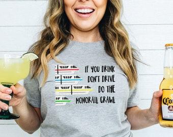 EPCOT Food and Wine Shirts, Monorail Crawl Shirt, Disney Monorail Shirts, Drink Around the World Shirt