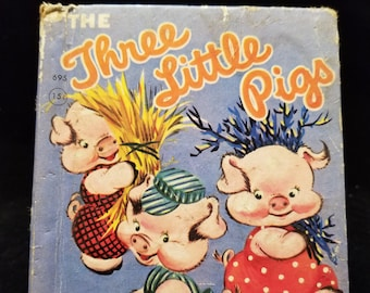 Vintage Children's Book The Three Little Pigs - A Rand McNally Junior Elf Book
