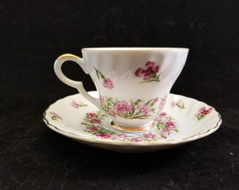 Vintage Lefton China Tea Cup and Saucer; Hand Painted Floral Design in Purple Carnations with Gold Trim; Made in Japan
