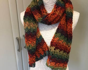 Scarf, Crochet Scarf, Autumn Jewels, Sparkly Scarf, Stripy Scarf, Long Scarf, Colourful Scarf