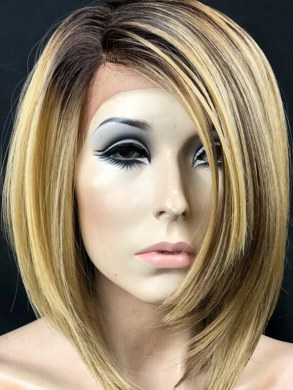 Kurze Bob Balayage Licht Blonde Ombre Lace Front Perucke Etsy
