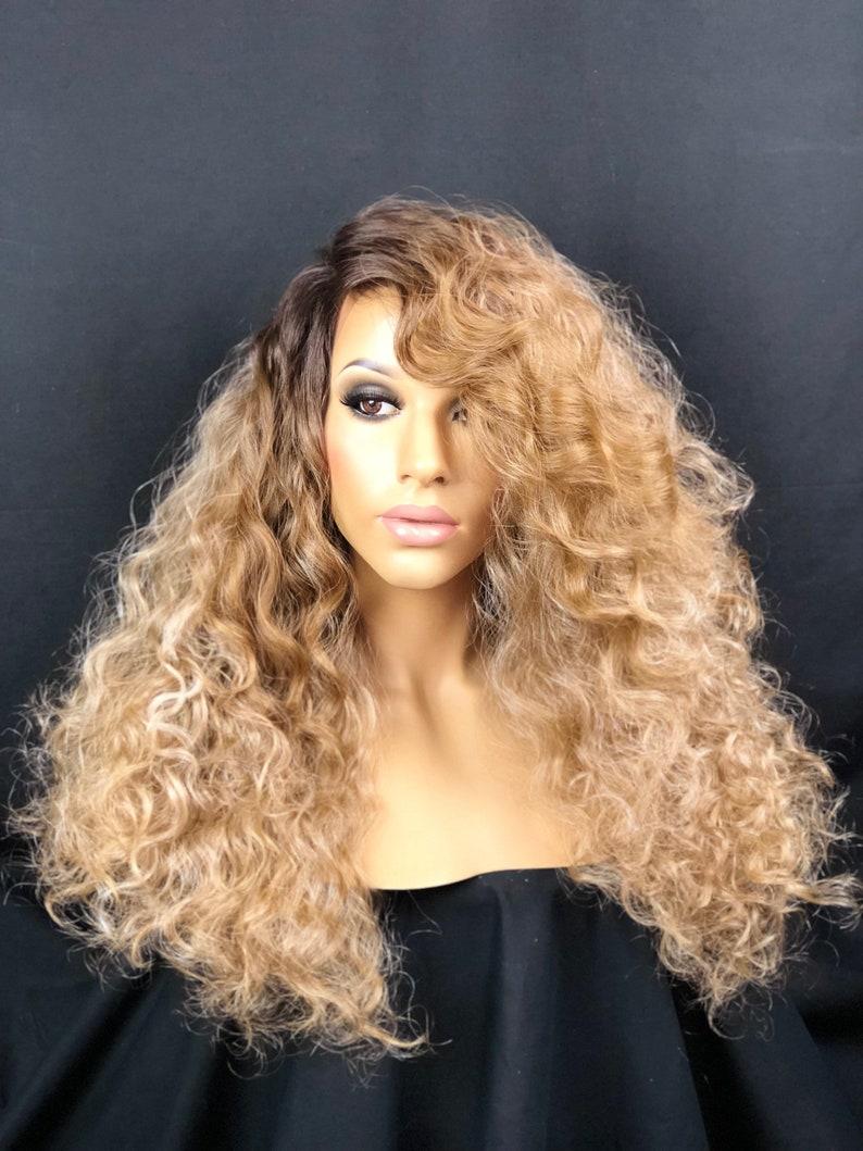Blonde Ombre Farbe Haarperücke Blonde Lange Haare Highlights Etsy