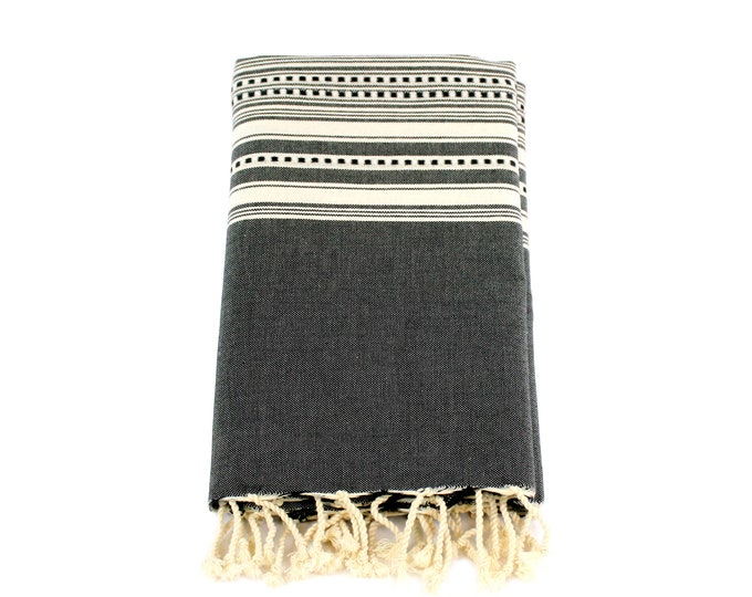 Featured listing image: Organic Cotton/Linen Fouta Turkish bath towel Beach wrap Embroidered tapestry bed cover wall hanging Boho holiday Fall decor