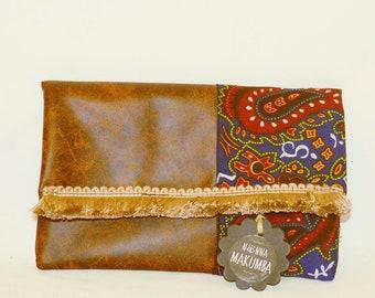 Handmade bag Vegan bag Leather bag Boho bag Boho clutch African clutch Hippie bag Clutch bag Gift for her