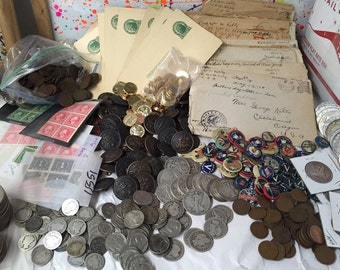 MEGA LOT(17 ITEMs)WWI ww1 coins+militaria+silver+pins+buttons+letters+stamps Plus Bonus Items #!25