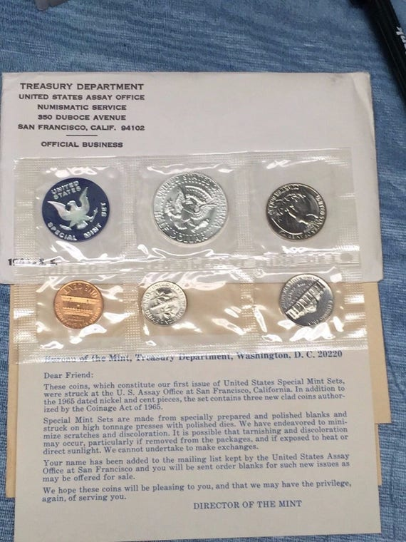 "The /""PROOF SET/"" for 1965 Original from us mint. 1965 special mint set"