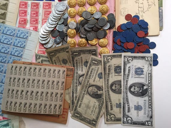 ESTATE LOT ALL WWII COINS+MEMORABILIA+SILVER+CURRENCY+RATION TOKENS+STAMPS #/%25