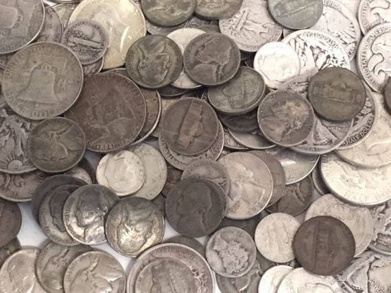 WASHINGTON 1//4 /& 5 ROOSEVELT DIMES 90/% SILVER US COIN LOT OF FRANKLIN 1//2