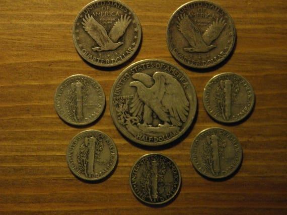 1.00 FV 90/% Silver Junk Coins 1 Walking Liberty Half Dollar 2 Washinton Quarters