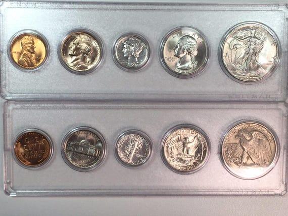 50 pcs Ch Gem BU Red Lincoln Cent P /& D Mint set Tokens