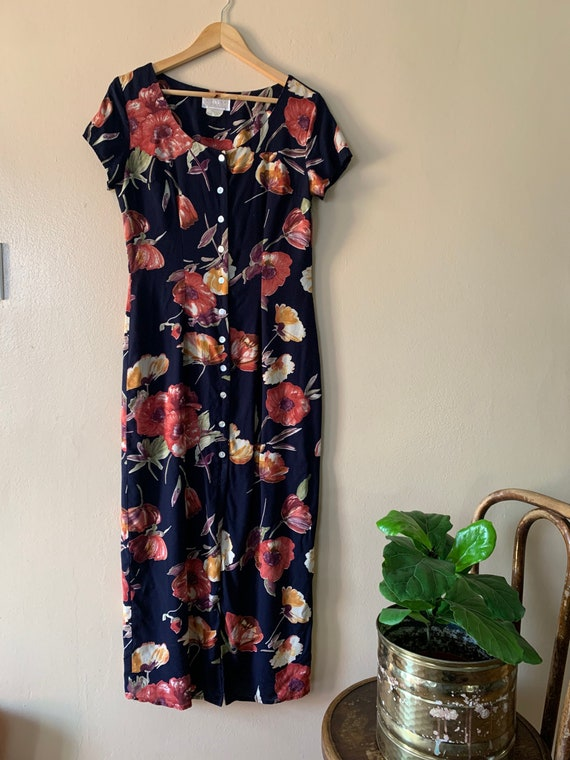1990's Floral Dress with Abalone Buttons