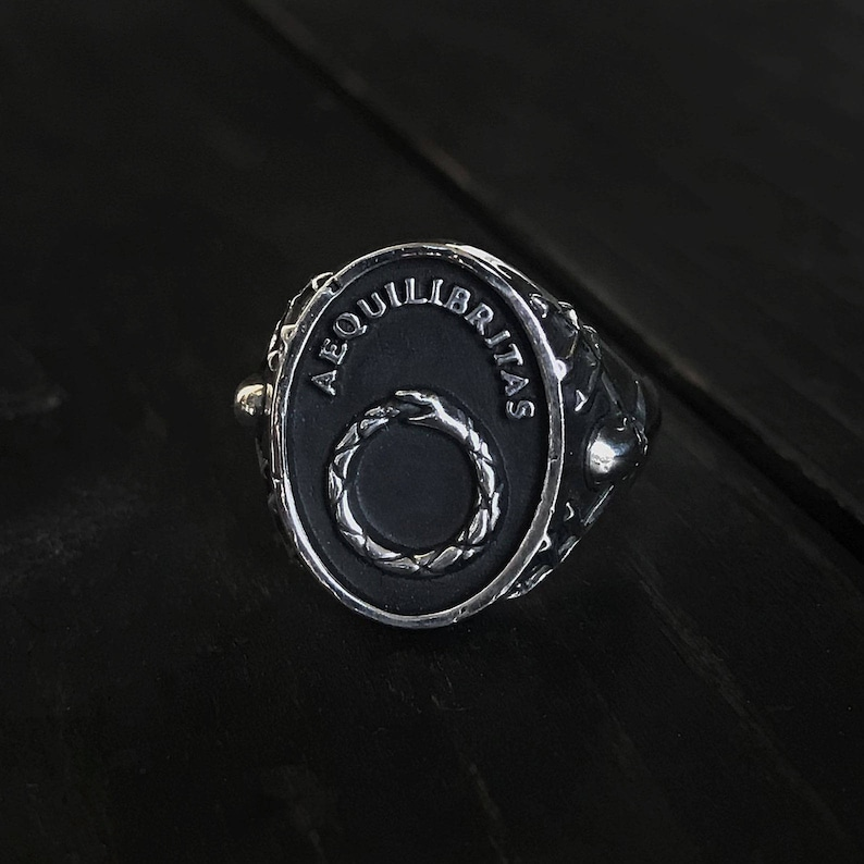 Remains Jewelry - Aequilibritas Ouroboros signet style ring sterling silver  925 gothic biker rock jewelry handmade mythology remainsjewelry