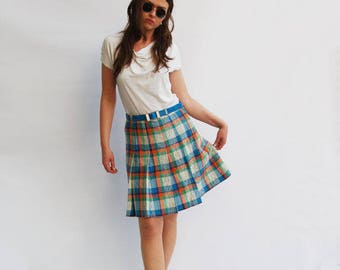 70s Vintage Green Plaid Mini Skirt, Vintage Tartan Skirt, School Girl Skirt, Checked Skirt, Plaid Skirt, Skirts for Women, Preppy Skirt M L