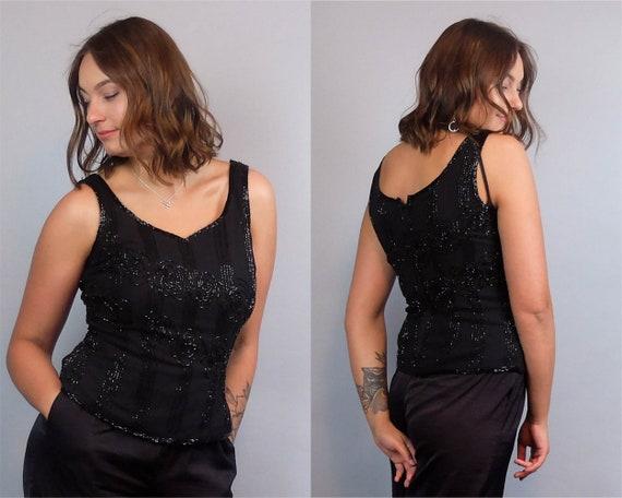 Vintage Vintage Evening Cocktail Party Blouse Vintage Black Embellished Sequin Top