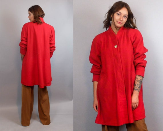 60s Vintage Oversized Cashmere Wool Coat for Women