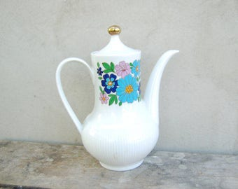 60s Vintage Antique Porcelain Tea Pot, Flower Teapot, German Pottery Bavaria Teapot, White porcelain Coffee Pot, Vintage Dinnerware Retro