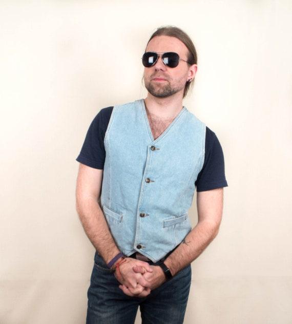 VINTAGE jean SHIRT mens vintage denim Oversized retro long sleeve hipster grunge Unisex