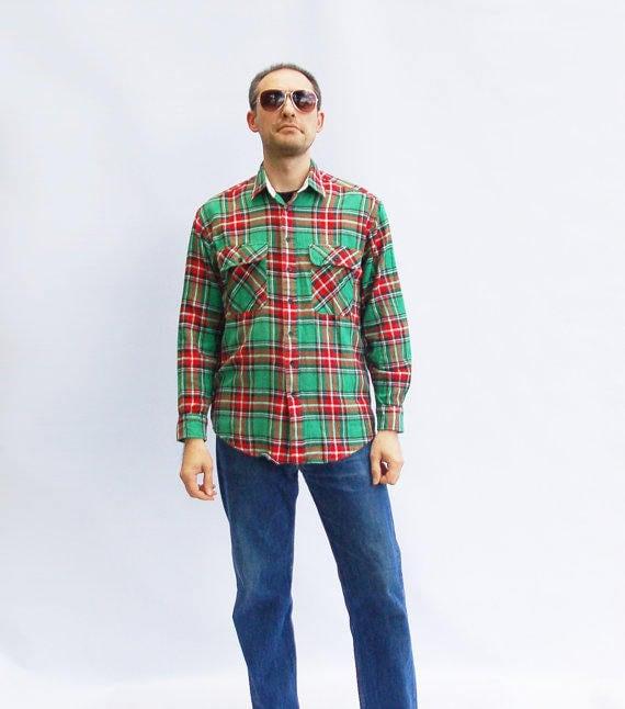 90s Vintage Plaid Men Shirt, Green Red Check Vintage Mens Shirt, Vintage  Shirts Men 90s Clothing Men Lumberjack Western Hipster Grunge Shirt
