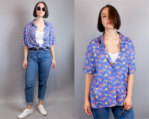 Vintage blue oversized funky patterned large short sleeved festival rave shirt blouse