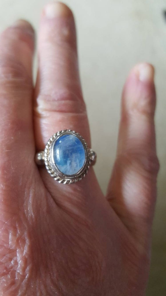 Rainbow Moonstone Sterling Ring Size 7