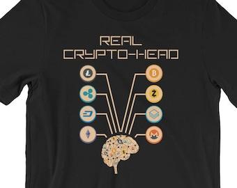 7de98da4e Cryptocurrency T-Shirt UNISEX Crypto-Head Bitcoin Ethereum Litecoin Dash  Iota Shirt Gift for Crypto Trader