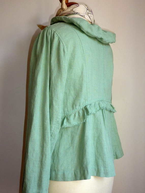 Pastel Ulster Ireland jacket lagenlook clothing green Moygashel boho Irish hygge linen natural green Washed linen in cardigan Made Sage 0Fzxwqw