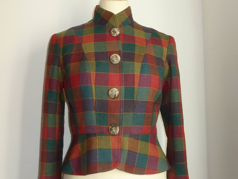 Colourful worsted wool Scottish plaid tailored peplum jacket Made in Ireland standing collar Tartan tweed steampunk jacket fully lined