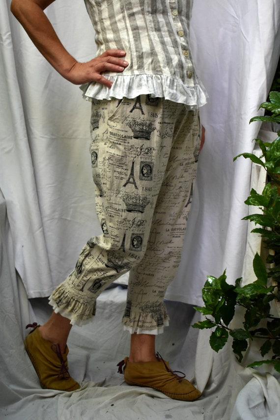 ruffled steampunk romantic bloomers boho French culottes linen natural lagenlook in beige look rustic printed pantaloons cotton trousers pnwq7Sz