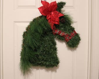 Horse Head Wreath, Christmas Wreath, Holiday Decor, Horse Decor, Equine Decor, Equine Wreath, Housewarming Gift