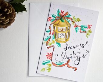 Christmas greeting card / watercolor painting / season's greetings