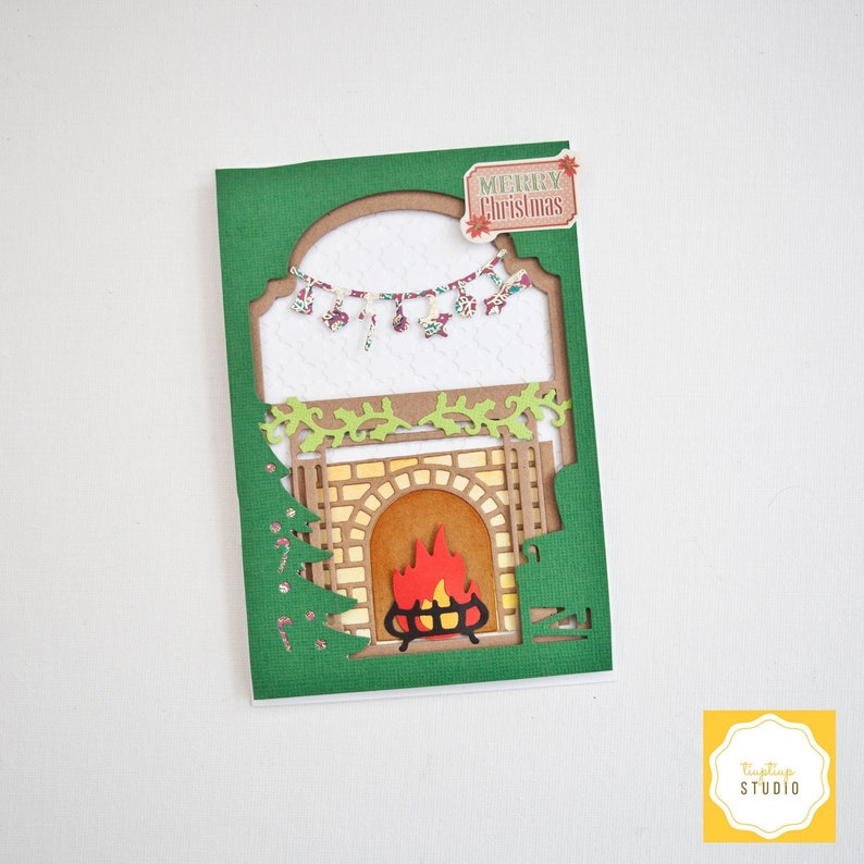 Christmas fireplace scene card / handmade card / stacked card / die-cut  card / cozy winter