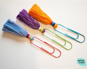 GIANT PAPERCLIP BOOKMARK set with tassel decoration / colorful paperclip / tassel bookmark / rainbow bookmarks