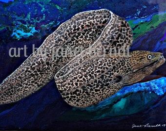 Moray Eel Painting 18X24 .(Sold) Moray Eel Acrylic, Moral Eel,  Sea, Marine