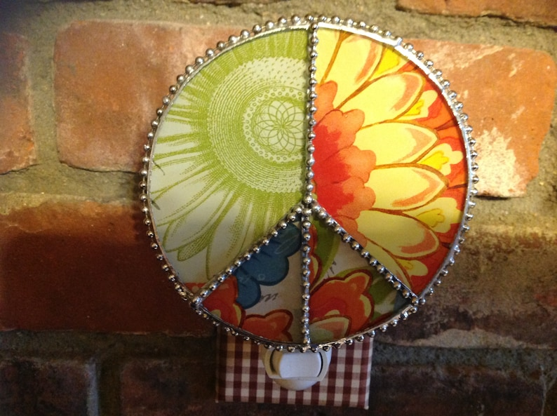 Peace sign handcrafted stained glass nightlight with flower power!