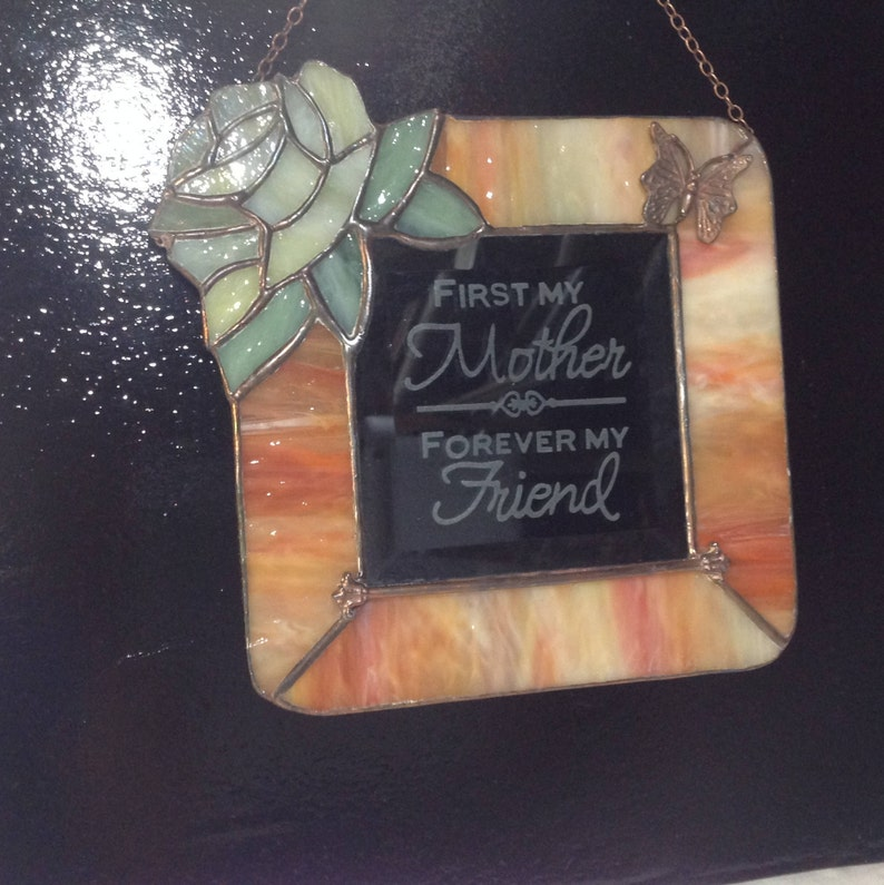 Stained glass etched bevel with verse suncatcher.