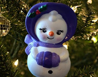 Handpainted Snow Woman Ceramic Christmas Ornament
