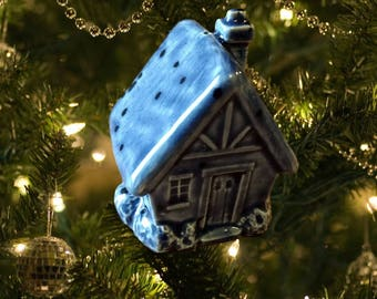 Small Blue Glazed Ceramic Christmas Ornament